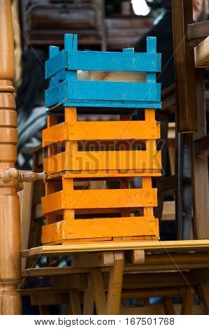 Colorful Wooden Crate Boxes For Sale In A Market Place