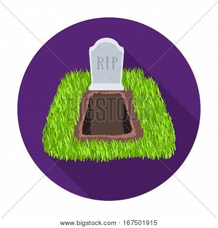 Grave icon in flat design isolated on white background. Funeral ceremony symbol stock vector illustration.