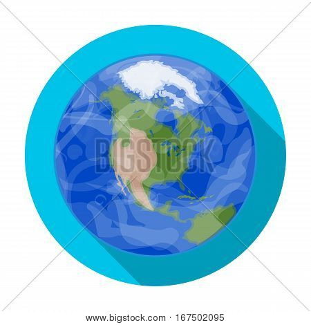 Earth icon in flat design isolated on white background. Planets symbol stock vector illustration.