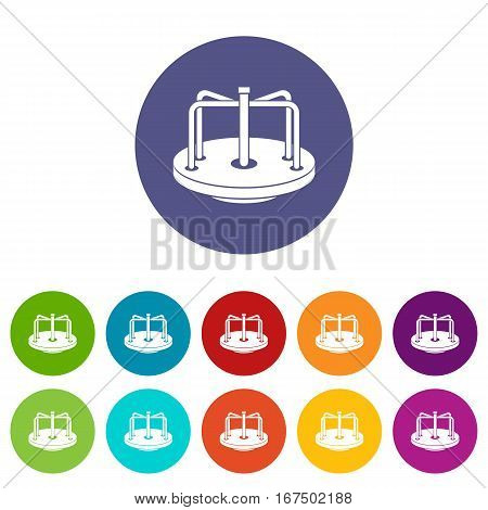 Children merry go round set icons in different colors isolated on white background