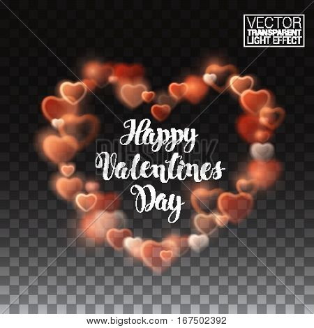 Glowing stream of sparkles and lens flare light effect. Happy Valentines Day. Decoration element. Holiday vector illustration of shiny heart path isolated on checkered transparent background