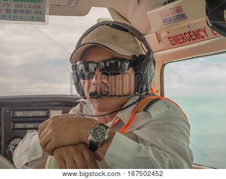 Nazca Peru - May 24 2016: Second pilot in the plain during the Nazca line view.