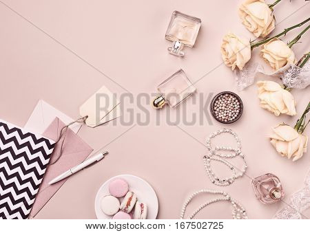 Vintage still Life with roses anf pink Ballet Shoes on pink background