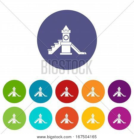 Slider, kids playground equipment set icons in different colors isolated on white background