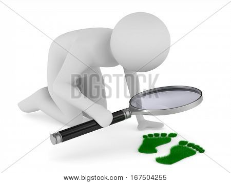 detective studies traces. Isolated 3D image on white
