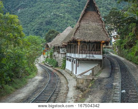 Agua Calientes Peru - May 21 2016: Hotel and coffee house near the train station in Agua Calientes