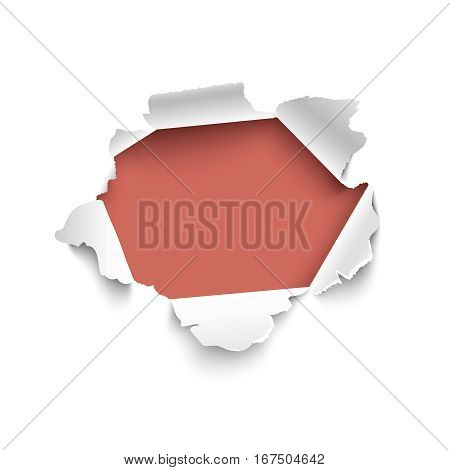 Hole in white paper with red background. Vector illustration. Banner with space for text. Realistic torn paper vector isolated on white background. Curled sides with ripped edges.