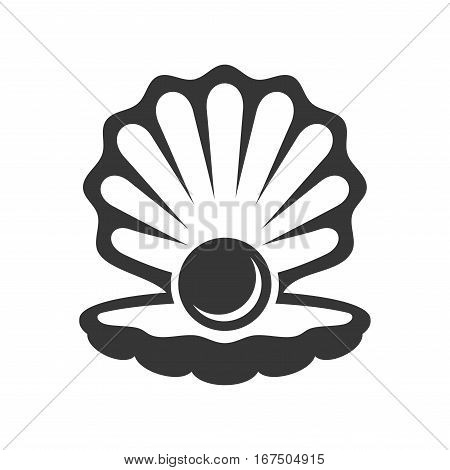 Black Pearl in Shell Icon. Vector illustration