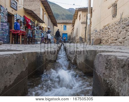 Ollantaytambo Peru - May 20 2016: Lode on the street of small town in Peru
