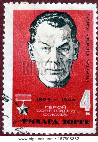 USSR - CIRCA 1965: post stamp printed in USSR shows portrait of Richard Sorge (1895-1944), Soviet spy and Hero of the Soviet Union, circa 1965