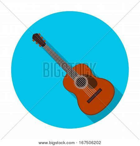 Spanish acoustic guitar icon in flat design isolated on white background. Spain country symbol stock vector illustration.