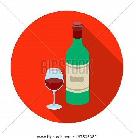 Spanish wine bottle with glass icon in flat design isolated on white background. Spain country symbol stock vector illustration.