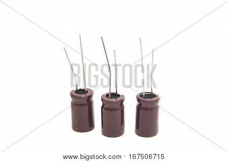 Electronics Technology capacitors isolated on white background