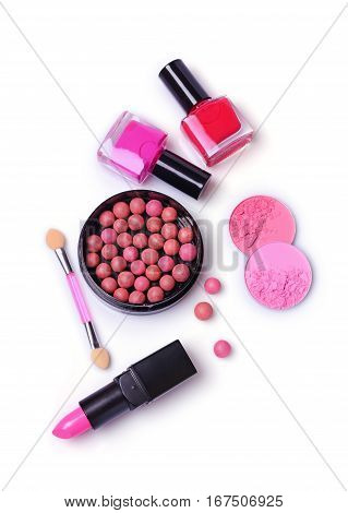Composition Of Cosmetics With Nail Polishes, Blush, Lipstick And Applicator