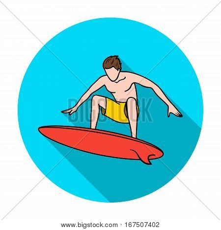 Surfer in action icon in flat design isolated on white background. Surfing symbol stock vector illustration.
