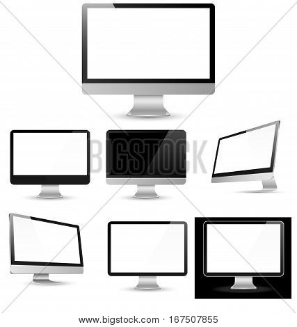Different computer displays with blank white screen isolated. Vector Illustration
