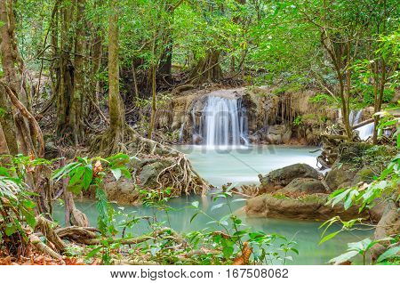 Deep forest waterfall at Namtok thi Lo Su waterfall National Park Umphang Tak Province Thailand