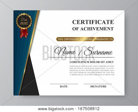 Luxury certificate of achivement with golden award. Trendy gold and blue business template or modern diploma blank with pattern. Vector illustration eps10