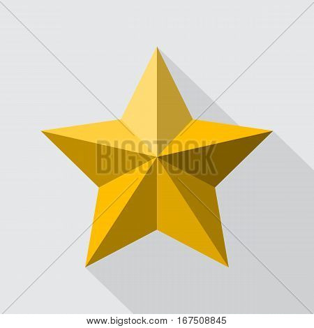 Golden shooting star flat style design with shadow