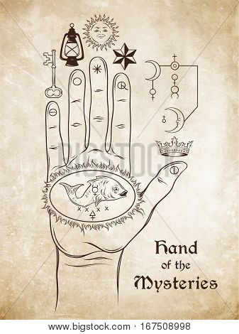 The Hand Of The Mysteries. The Alchemical Symbol Of Apotheosis, The Transformation Of Man Into God.