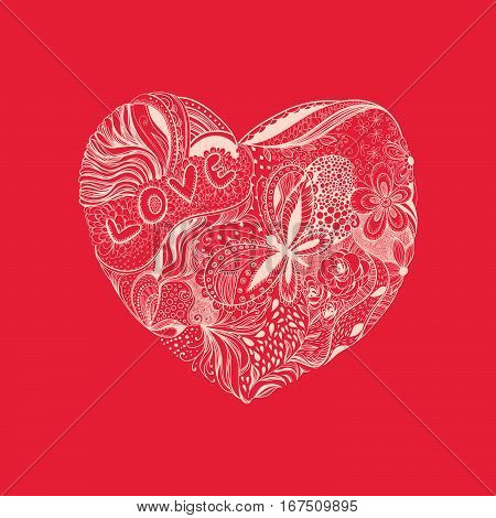 Hand - drawn heart made of flowers petals butterflies leaves and patterns letters love Valentine day illustration