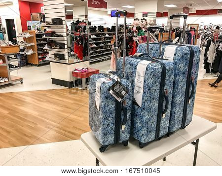 New York January 27 2017: A luggage set is on sale on the floor of a TJ Maxx store.