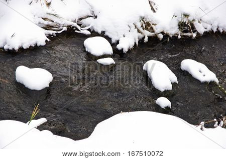 Detail of unfrozen water stream surrounded by snow in winter at mountain Kozomor, Serbia