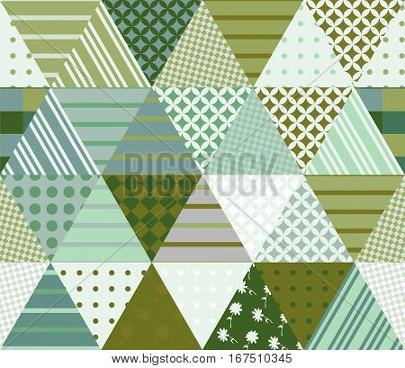 Seamless patchwork pattern from triangle patches. Vector illustration. Quilt in green tones.