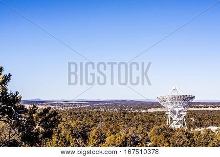 Radio telescopes in a remote forest area