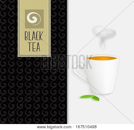 Black tea packaging design, cup of tea wit smoke and green leaves, realistic vector illustration. Hand drawn swirl pattern.