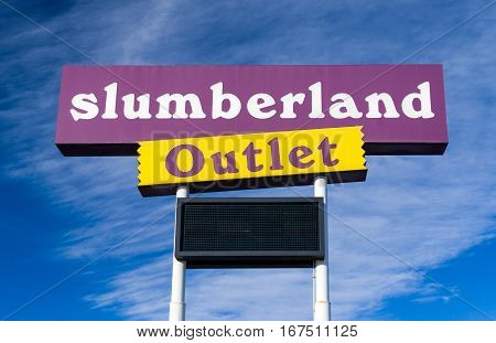 NORTH BRANCH MN/USA - JANUARY 29 2017: Slumberland retail exterior sign and logo. Slumberland Furniture Inc. is a furniture retailer in the United States.
