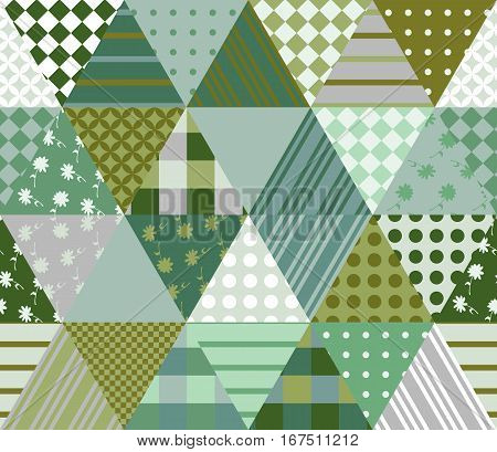 Seamless Patchwork Pattern In Green Tones. Vector Illustration Of Ethnic Quilt.