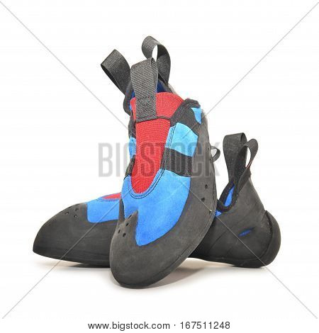 a pair of blue climbing shoes isolated on white background