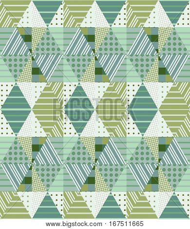 Ethnic Seamless Patchwork Pattern In Green Tones. Geometric Tribal Ornament. Can Be Used For Wallpap