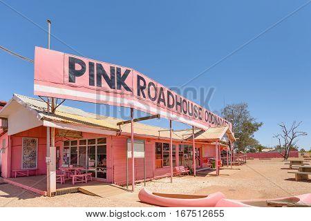 OODNADATTA AUSTRALIA - OCTOBER 24 2016: The Pink Road House at Oodnadatta the start of the Oodnadatta Track Outback South Australia Australia.