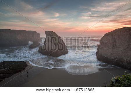 Misty Sunset at Shark Fin Cove (Shark Tooth Beach), Davenport, California, USA
