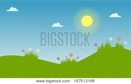 Floral spring landscape of vector collection stock