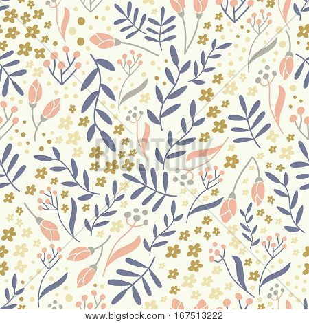 Seamless floral pattern with hand drawn elements. Can be used for wallpaper poster design wrapping paper surface texture web backgrounds print on textile and covers