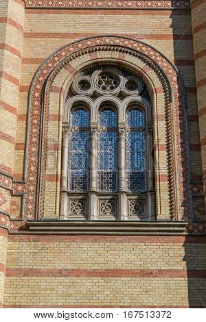 Beautiful window on the Synagogue in Budapest