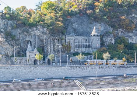 View On Cave Curch In Budapest Acros The Denube River