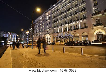 ATHENS GREECE, DECEMBER 20 2015: night photography of Grande Bretagne hotel Athens Greece with Christmas decorative lights. Editorial use.