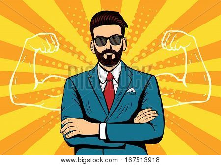 Hipster beard businessman with muscles currency dollar pop art retro style. Strong Businessman in glasses in comic style. Success concept vector illustration.