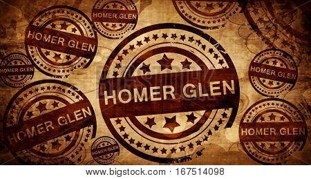 homer glen, vintage stamp on paper background