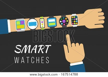 Variety of smart watches on a hand. Vector illustration concept flat style.