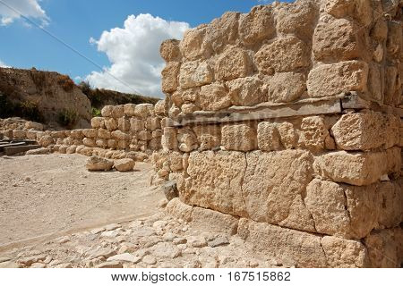 Ruins at the Tel Megiddo National park - a UNESCO work heritage site, northern Israel