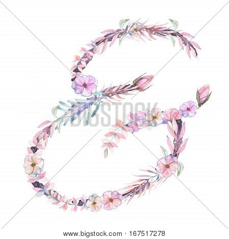 Sign ''&'' of watercolor pink and purple flowers, isolated hand drawn on a white background, wedding design, english alphabet for the festive and wedding decor and cards