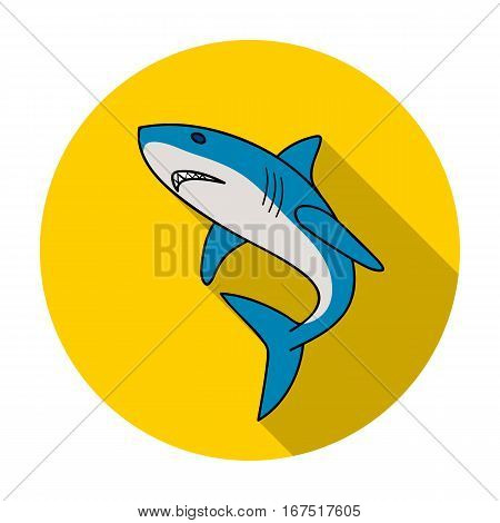Great white shark icon in flat design isolated on white background. Surfing symbol stock vector illustration.