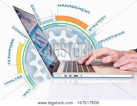 illustration of a business concept behind a laptop
