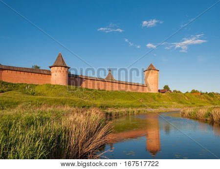 The wall with towers of the Saviour Monastery of St. Euthymius is a monastery in Suzdal, Russia. Golden Ring of Russia.
