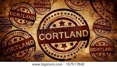 cortland, vintage stamp on paper background